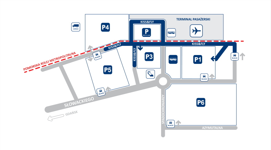 План парковки в аэропорту Гданьска